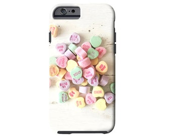 Valentine iPhone 6s case, iPhone 6 plus, candy conversation hearts Samsung Galaxy S6 case, pastel galaxy Note 4 case, valentines gift