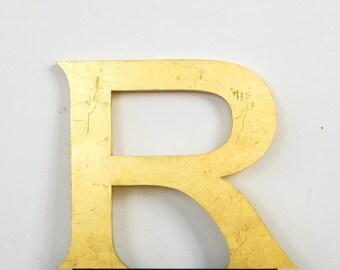 Vintage Shop front letter R, 24 carat gold leaf, shop front antique signage industrial