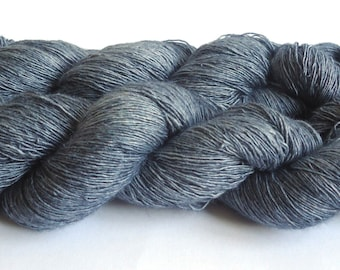 Hand dyed Merino Silk Lace yarn hand painted: Silver
