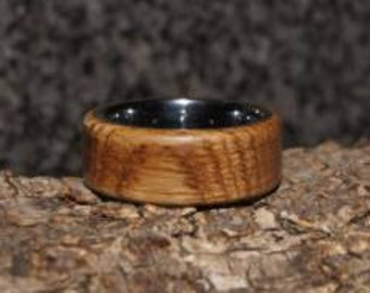 Wood Ring Size 9 - Oak  wood and tungsten ring