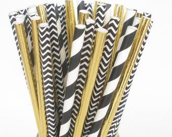 "Paper Straws ""BLACK & GOLD"" Party Mix…Elegant Wedding Straws / Plastic Mason Jar Paper Straws / Birthday Party Favors"