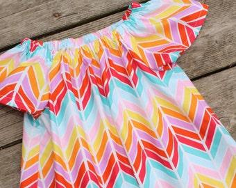 Girl's Toddlers Bright Herringbone Flutter Sleeve Peasant Dress
