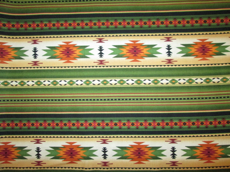 Native American Traditional Navajo Green Orange Border Cotton Fabric Fat Quarter Or Custom Listing