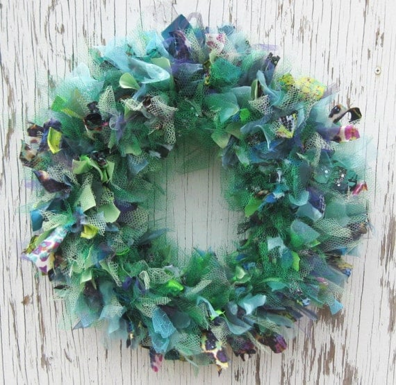 Recycled Prom Dress Wreath - 14 inch - Mermaid Green