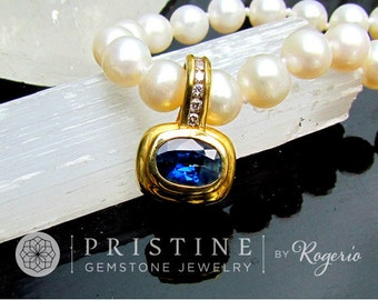 Ceylon Blue Sapphire Pendant SALE in 14k (two tone) Gold and Diamond Setting