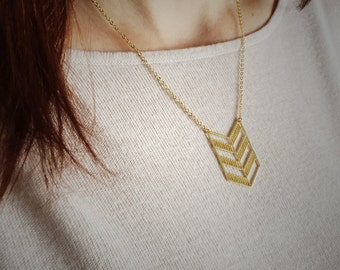 Geometric chevron flag necklace