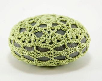 Crochet stone, crochet rock, star, beach wedding, ring bearer pillow, home decor, spring green colored thread, bowl element, paperweight