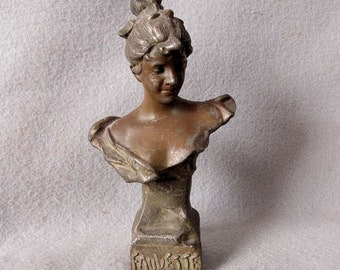 19thC Victorian, Art Nouveau Bust of Lovely Lady
