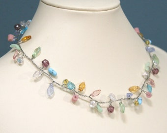 Pastel Rainbow Leaves Branch Necklace