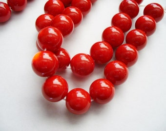 Glass  Beads Red Round 10MM