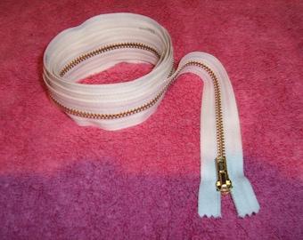 """1 Off-White  60"""" YKK Brass Zipper"""