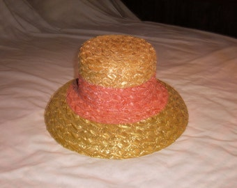 Vintage Laura Ashley Natural Straw Ladies Summer Hat