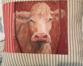 White Cow quilted pillow