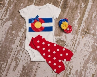 Colorado girl shirt or bodysuit size newborn to 6 toddler with leg warmers and matching headband