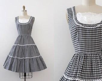 vintage 1960s dress // 60s black and white gingham day dress