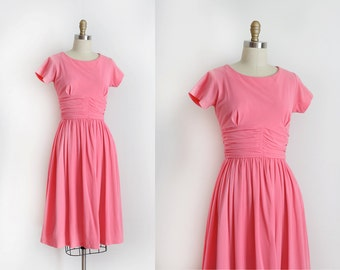 SALE / vintage 1950s dress // 50s soft pink day dress