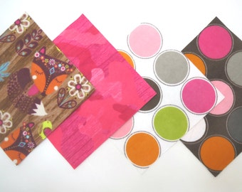"""48 Piece Rag Quilt Top Kit in Fox in the Woods, Bright Pink Camo, and Large Dot Prints PreCut 6""""x6"""" Quilt Squares"""