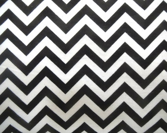 Flannel Fabric by the Yard in a Black and White Chevron Print 1 Yard