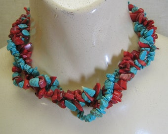 Vintage Native American Style Turquoise and Blood Coral Necklace