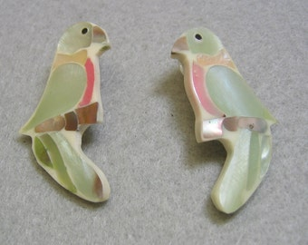 Dyed Mother of Pearl Parrot Pierced Earrings
