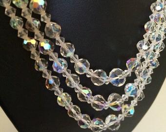 Gorgeous Triple Strand Aurora Borealis 1950's or 60's Bead Necklace