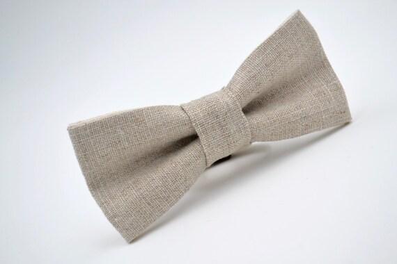 Bowtie Boys in Neutral Linen, Boys Beige Linen Bow Tie