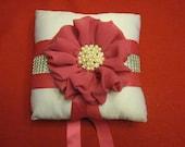 Fushia and bling rhinestone ring pillow