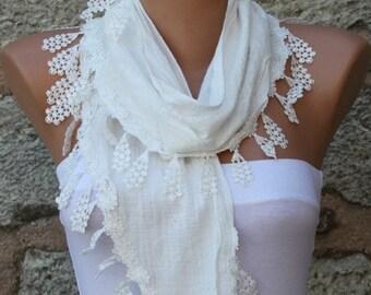 Spring Celebrations Fashion White Scarf Cotton Cowl Scarf Bridal Accessories Bridesmaid Gift Gift Ideas  For Her Women's Fashion Accessories