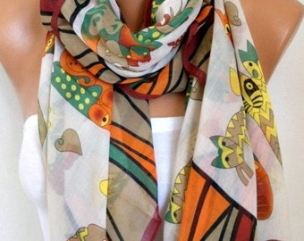 CAT Print Cotton Scarf, Shawl, Cowl, Oversized Wrap Gift Ideas For Her Women Fashion Accessories,Halloween Gift, Women Scarves