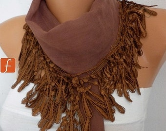 Brown Cotton Scarf  Valentine's Day Gift, Necklace,  Cowl Scarf  Gift Ideas For Her Women Fashion Accessories