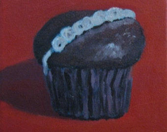 """Chocolate Cupcake Red Kitchen Still Life Original Oil Painting Abstract Modern Impressionist Plein Air 6x6 """" Canvas Jennifer Boswell"""
