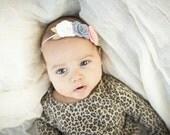 Large Rose Trio Headband in Vintage Pink, Off White and Smoke Grey - Newborn Baby to Adult - Wool Felt Flower Headband
