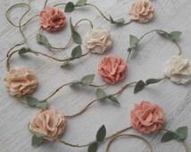 Wool Felt Flower Garland -Wall Hanging - Home Decor - Nursery/ Wedding Decoration - Vintage Pink, Wheat and Ecru - or choose custom colors