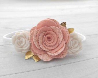 Vintage Pink, Off-white and Gold Felt and Glitter Flower Headband - Felt and Glitter Rose Luxe Trio with Genuine Leather Accents
