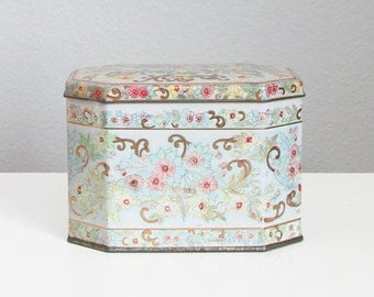Vintage Pink and Gold Tin, Biscuit Tin Floral, Decorative Metal Box