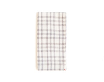 Gray And White Tea Towel With Checks and Dots