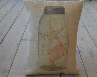 Mason Jar Shells Burlap Pillow, Mason Jar ocean,  French Country, Rustic Farmhouse, INSERT INCLUDED