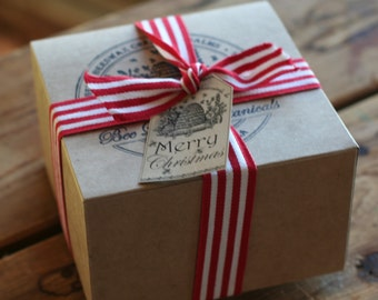 Gift Wrapping with Ribbon in Stamped Kraft Box