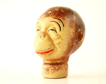 Vintage Composition Monkey Head Hand Puppet (c.1930s) N2 - Collectible Hard to Find Monkey, Curio Cabinet Display Prop