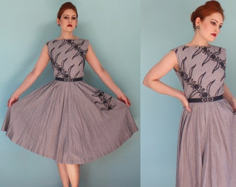1950s Embroidered Black and White Gingham Day Dress with Pocket