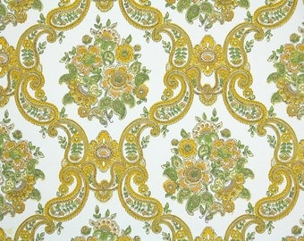Retro Wallpaper by the Yard 60s Vintage Wallpaper - 1960s Gold Floral Damask