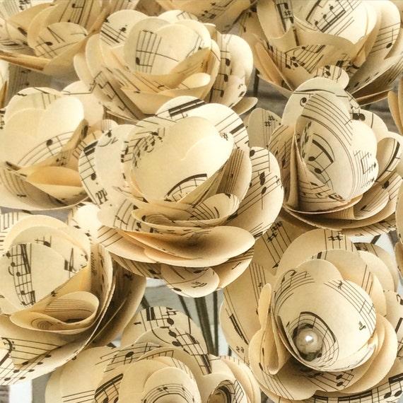 Papierblumen Weinlese Musik Musik Blumen Musik Noten