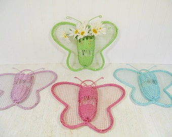 Vintage Wicker Pastel Butterfly Wall Pockets Set of 4 - Pink, Blue, Green & Purple Butterflies Metal Mesh Wings / Woven Rattan Center Basket