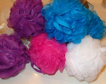 POUFS: Nylon Mesh Bath & Shower Puffs in Assorted Colors! Scrubbie for Gift Basket Accessory, Kids, Adults