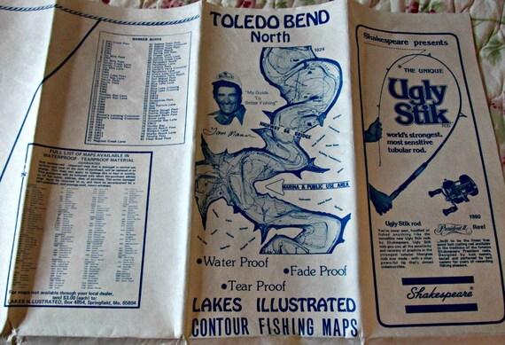 Vintage unused tom mann fishing map toledo bend by ozarksfinds for Toledo bend fishing map