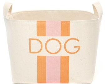 Dog Canvas Storage Bin, Pink/Orange Stripes