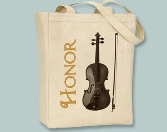 Violin Illustration Instrument Personalized Canvas Tote with Shoulder strap - Selection of sizes and Personalzation available