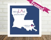 LOUISIANA Map Print Unique Anniversary Gift Framed Art Paper Anniversary Gift Personalized Gift for Couple Special Valentines Day Gift
