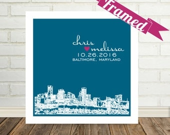 Gift for Couple City Skyline Art Wedding Gift Poster Print Personalized FRAMED ART Any City Available Wedding Skyline Wedding Location Art