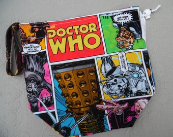 "Reversible Knitting or Crochet Project Bag, Size Medium ""Dalek"""